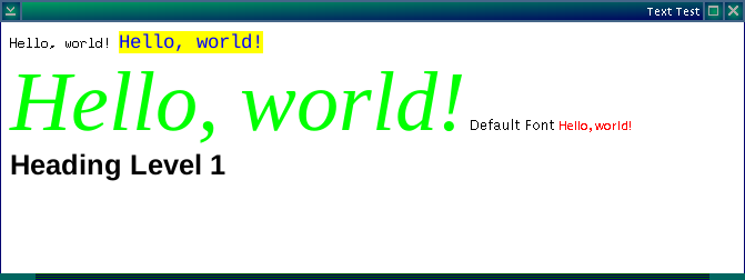 Screenshot demonstrating a variety of fonts and colors used in a flow together displayed in a simple window
